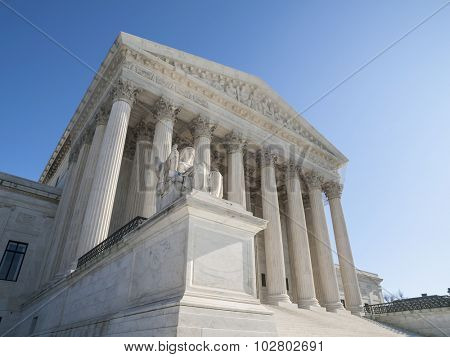 United States Supreme Court Building Facade in Washington DC.
