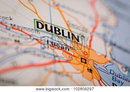 Dublin City On A Road Map