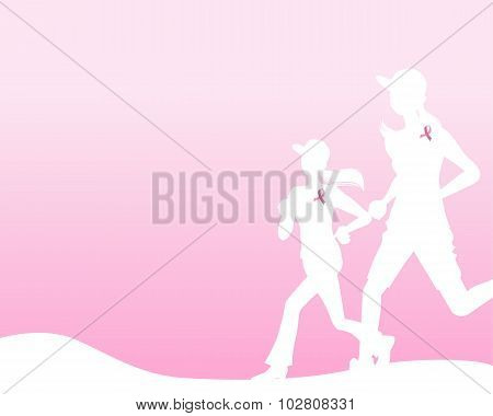 Pink Ribbon Concept -  Running Woman Silhouette  With Hill And Tree