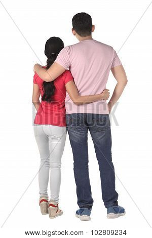 Young Asian Couple From Behind