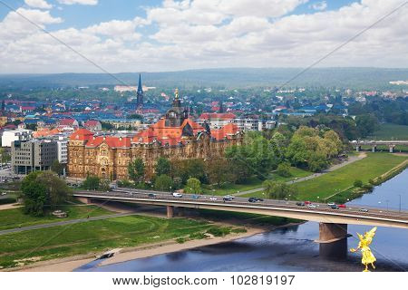 Carolabrucke bridge and Dresden panorama