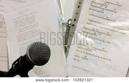 Microphone On The Blur Lyric Background.