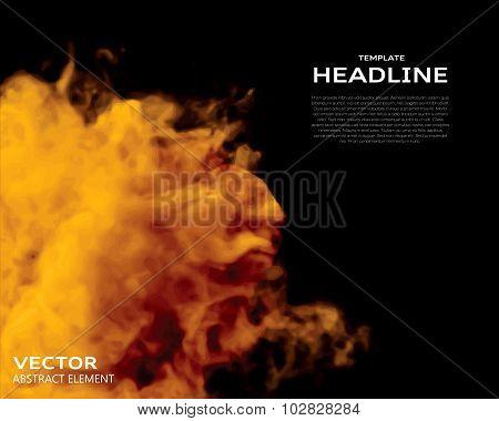 Vector Illustration Of Fire Elements On Black.