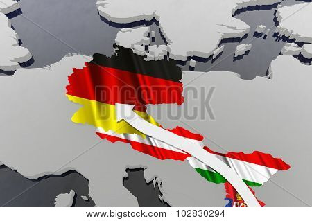 Way of the Syrian Migrants Refugees to Europe in 2015 3D Illustration poster