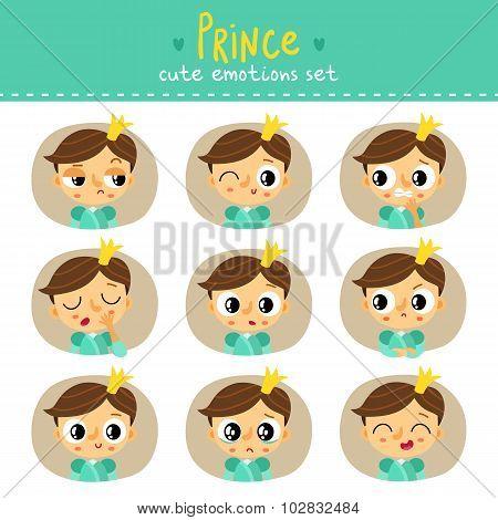 Prince, Little Boy Cute Emotions Set