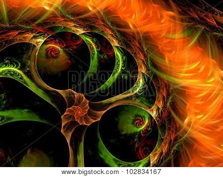 Abstract Abstract Computer-generated Image Of Green, Red And Orange Colors