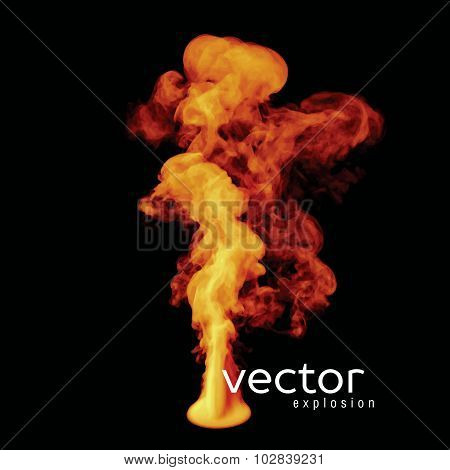 Vector Illustration Of Fire Explosion