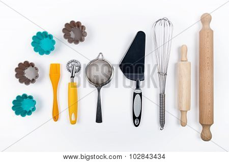 Tools pastry on white background