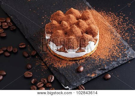 tiramisu graphite plate black background beautifully appetizing dessert menu