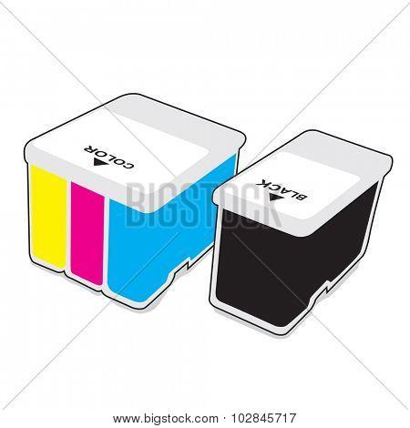 Inkjet cartridges CMYK - Vector illustration