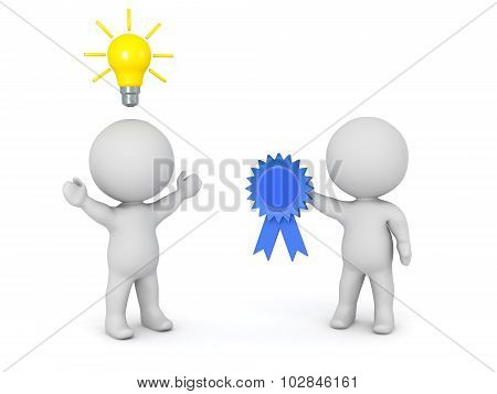 3D Character Getting A Blue Ribbon For An Idea