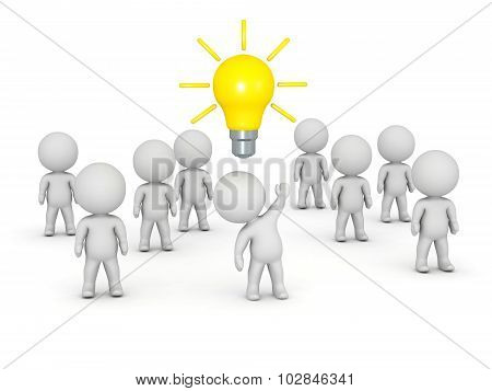 3D Character In Crowd Having An Idea