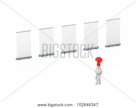 3D Character Questioning What Advertisment To Follow