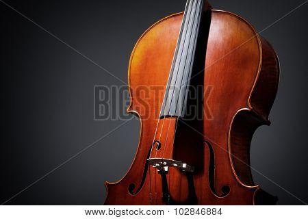 Antique Cello musical instrument on a dark background