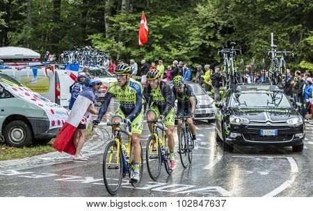 Group Of Three Cyclists - Tour De France 2014
