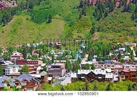 Telluride town surrounded by mountain hillsides Colorado.