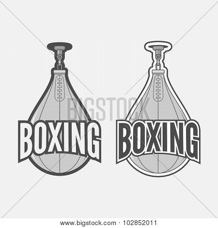 Punching Boxing Bag Labels Set. Fight Sport vintage Design Elements, Badges, Logos poster