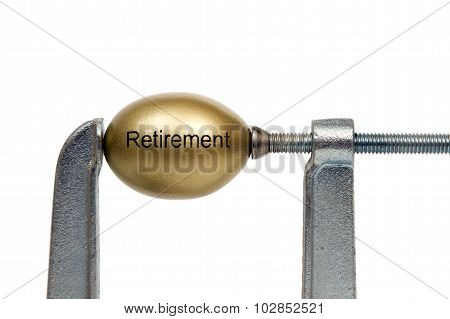 Retirement golden nest egg under pressure in clamp poster