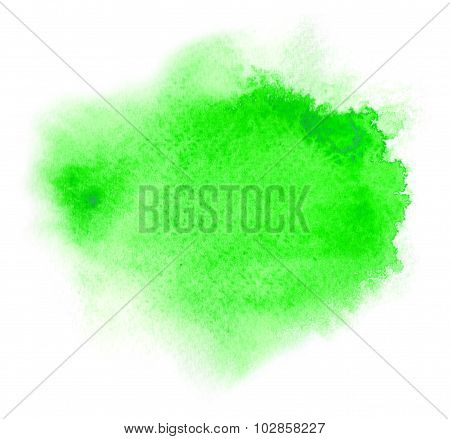 Green Watercolour Or Ink Stain With Water Color Paint Blotch