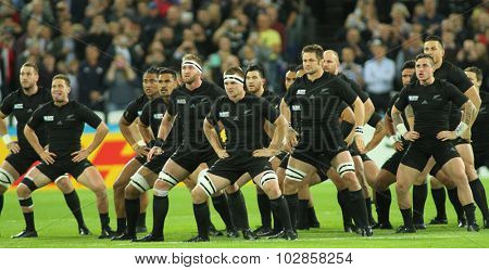 LONDON, ENGLAND - SEPTEMBER 24 2015: The 2015 Rugby World Cup Pool C match between New Zealand and Namibia at The Stadium, Queen Elizabeth Park