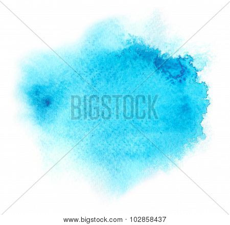 Blue Water Color Background With Water Colour Paint Blotchiness