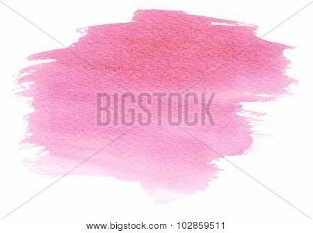 Pink Watercolor Stain With Blotch And Brush Strokes