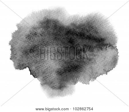 Black Watercolor Stain With Blotch And Brush Stroke