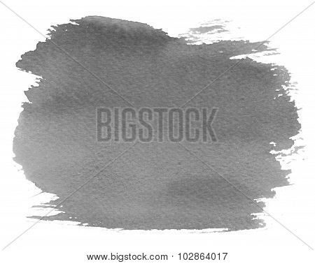 Grey watercolour blotch stain on white paper background poster