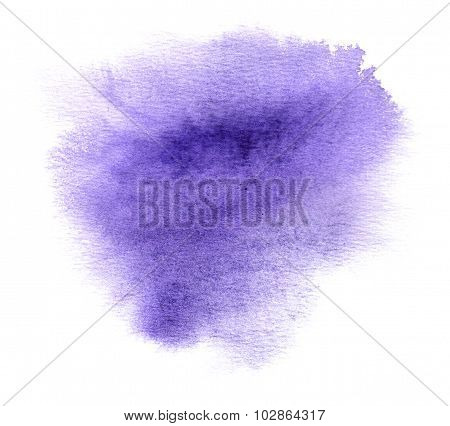 Colorful violet watercolour or ink stain with watercolor paint smudge poster