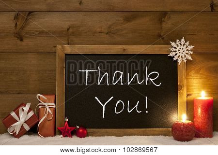 Festive Christmas Card, Blackboard, Snow, Candles, Thank You
