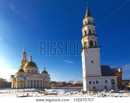inclined leaning tower and Orthodox church Nevyansk winter poster
