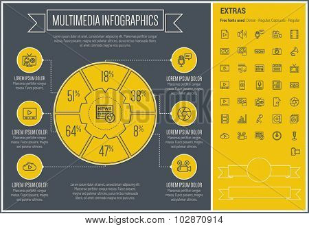 Multimedia infographic template and elements. The template includes the following set of icons - shutter, phonograph, newspaper, equalizer, cassette recorder, camera and more. Modern minimalistic flat poster