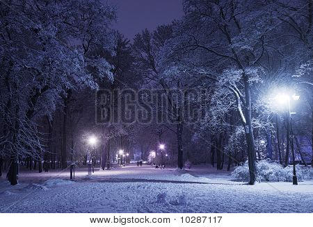 Winter Alley At Night