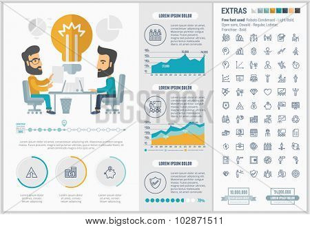 Business infographic template and elements. The template includes illustrations of hipster men and huge awesome set of thin line icons. Modern minimalistic flat vector design.