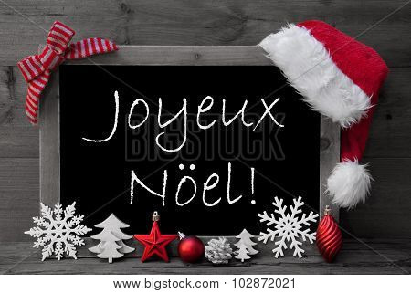 Blackboard Santa Hat Joyeux Noel Means Merry Christmas