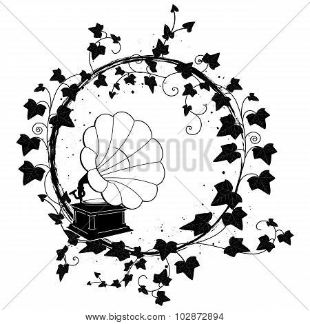 Ivy Frame With Gramophone