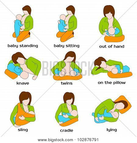 Poses for breastfeeding. Woman breastfeeding a child in different poses. Baby standing, sling, twins