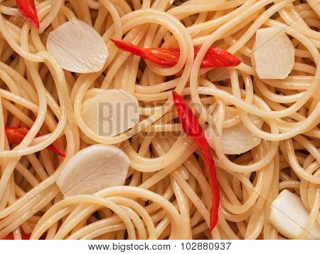 Traditional Italian Aglio Olio Spaghetti Pasta Food Background