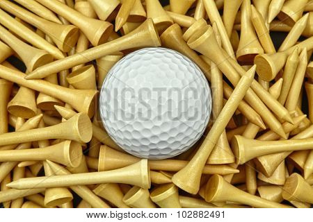 Golf Ball On Wooden Tees