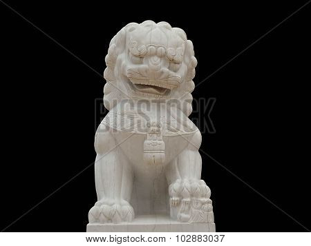 A Chinese Lion Statue In A Public Temple, Wat Pa Phu Kon,thailand Black Backgroung)