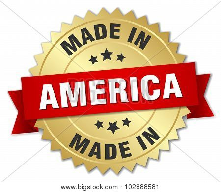 Made In America Gold Badge With Red Ribbon