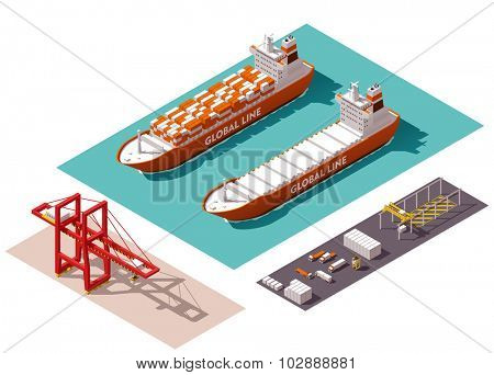 Isometric cargo port machines and equipment