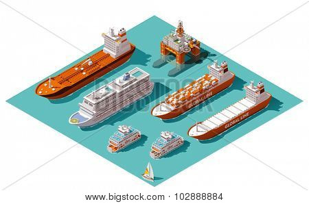 Isometric icons representing nautical transport