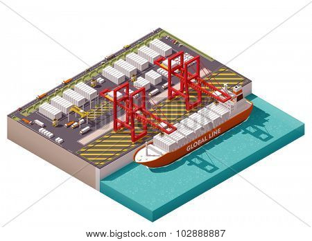 Isometric cargo port with cranes and container ship