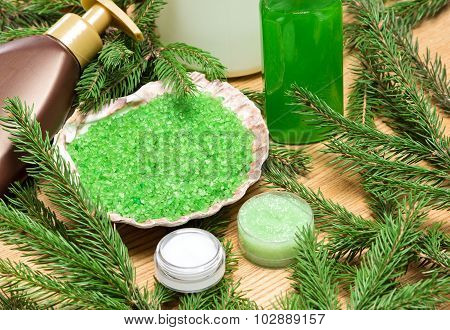 Different Natural Cosmetic Products For Skincare With Firry Branches