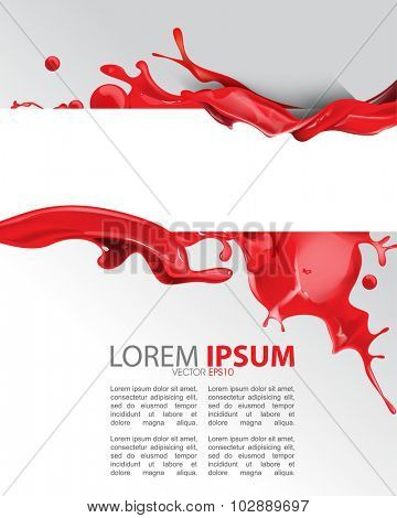red wet ink splatter paint concept background illustration design. eps10 vector