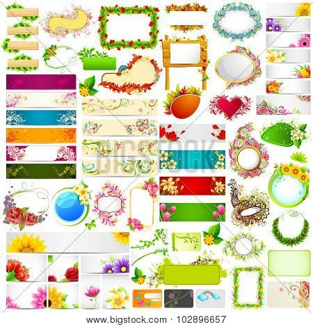 illustration of set of colorful floral banner jumbo collection with different flower