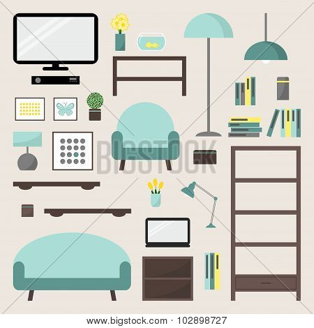 Living room elements set. Living room interior design isolated icons. Apartment elements.