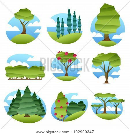 Abstract low poly style landscapes with trees set.