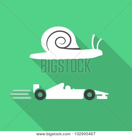 Slow snail and fast formula car contrast green icon poster